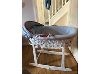 Moses basket with matttess and cover