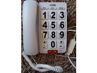 Home phone, white with large buttons