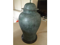 2 twin TABLE LAMPS - GREEN PAINTED METAL