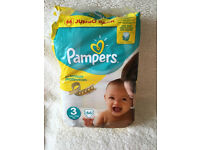 PAMPERS BABY NAPPIES PCK OF 44 OUT OF 66 SIZE 3 (5-9kgs) will post out