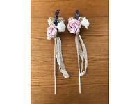 2 handmade flower girls wands