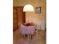 Large white lace scalloped edge crocheted ceiling pendant lamp shade & light fitting