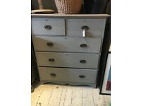 CHEST OF DRAWERS PAINTED MAHOGANY EXTRA LARGE FRENCH GREY EDWARDIAN