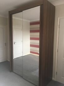 Excellent condition sliding wardrobe (walnut brown) with a double full length mirror