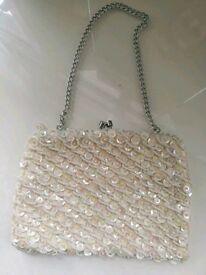 Sequin ivory evening wedding bag.