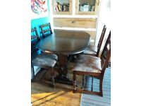 Extendable table and four chairs