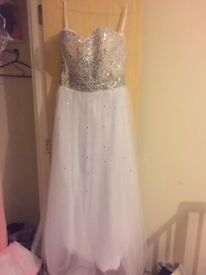 **Stunning brand new silver and white dress**