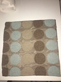 4x Next cushion covers light brown and duck egg circle design
