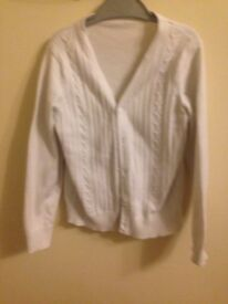 Marks & Spencer girls white cardigan age 7-8 years