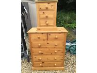 5 drawer and 3 drawer pine chests of drawers
