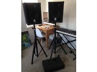 PA speakers with stands + Amp/Mixer with microphone inserts