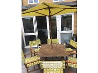 Wooden Garden Table with 4 chairs and Parasol