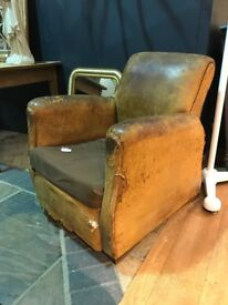 Vintage Antique French Tan Leather Club Chair