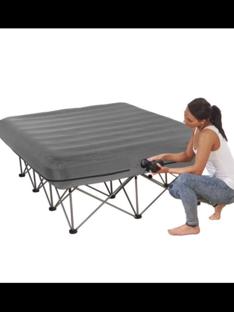Starry Night Inflatable Double Air Bed Raised Frame Electric Pump