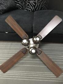 Wood bladed ceiling fan