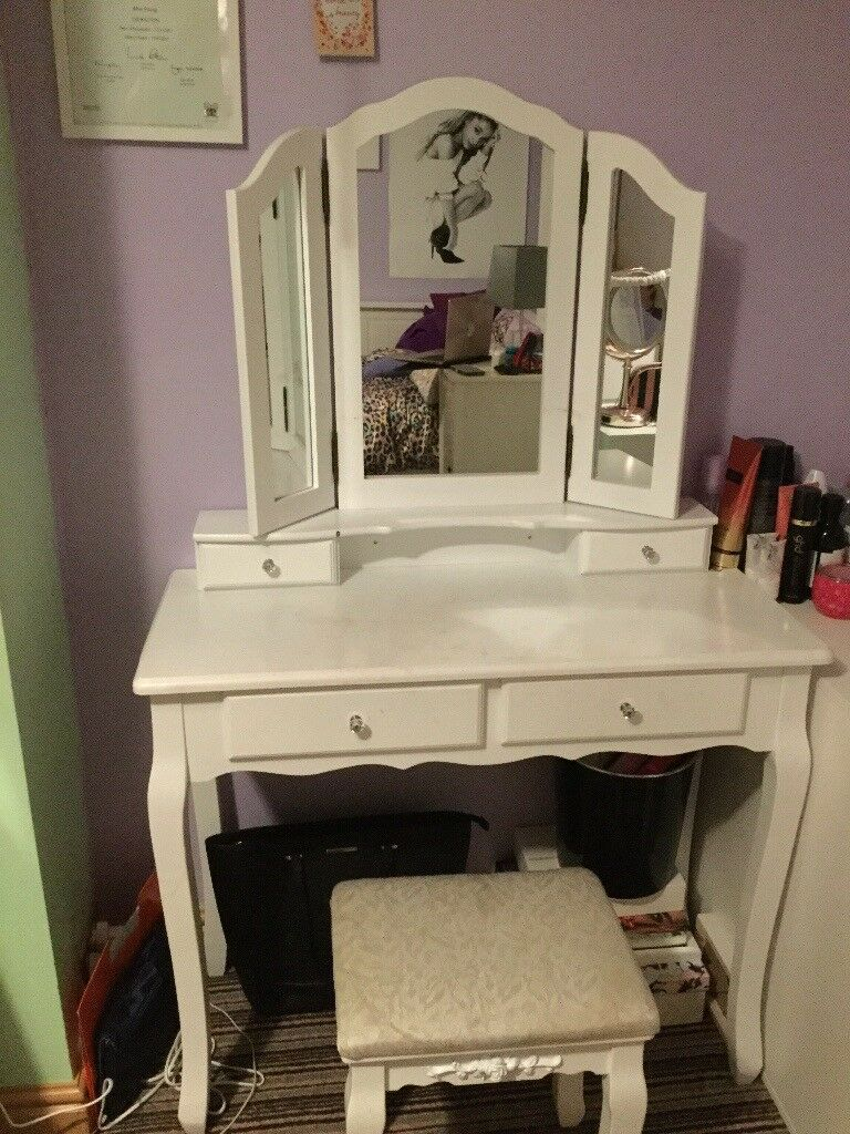 Wall Fixed White 3 Mirror Dressing Table With Stool 4 Drawers Incl 2