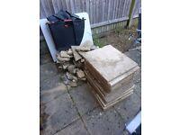 Free garden rubble/dirt & 12 patio slabs (1 broken)
