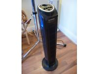 lovely black silver crest cool air tower fan,three speed settings & timer,perfect working condition