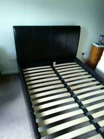 Double brown leather bedframe