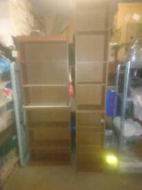 X2 small book/dvd shelves. 1 shelved narrow display cabinet. 1 as before with glass fronted door