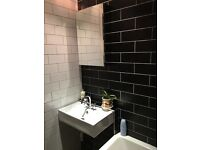 Matt black flat rectangular ceramic tiles