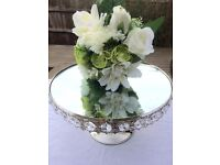 Raised 30cm mirror plate/cake stand with diamanté trim