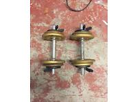 Weight training dumbells with cast iron weights