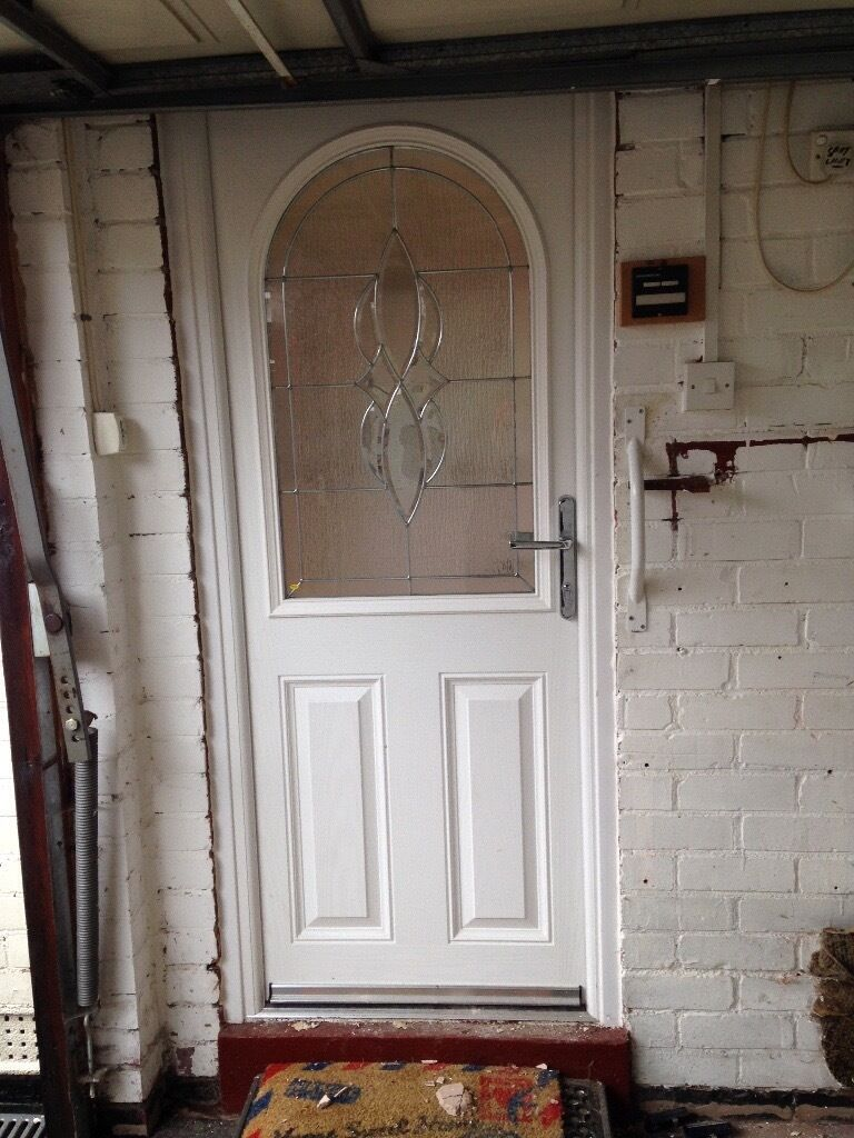 Composite white exterior door 895 x 2000mm inc frame in for Front door and frame