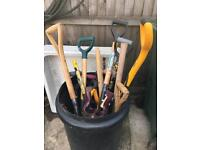 Tools for repairs shovels folks post diggers