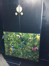 Vintage Retro Upcycled tall boy linen cupboard / Storage tropical leafs & parrots