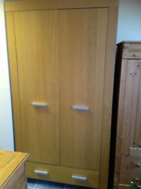 2 DOOR 1 DRAWER WARDROBE WITH SHELF AND HANGING RAIL VGC
