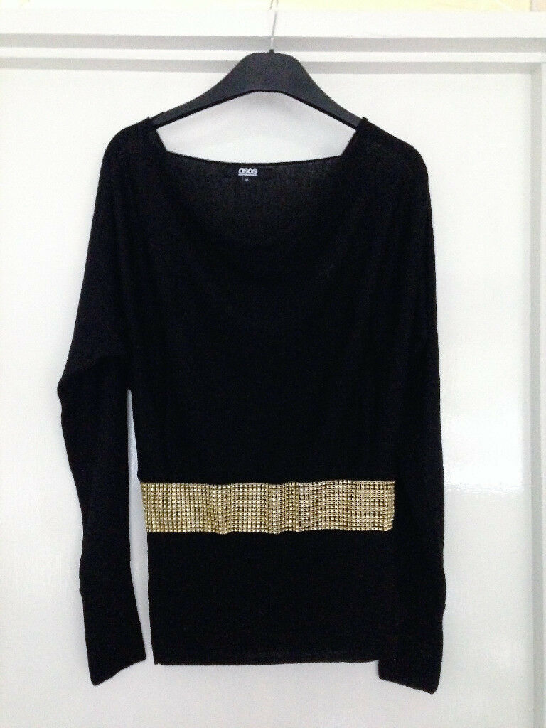 **BRAND NEW WITH LABELS** Womens size 10 black ASOS top with gold sequins across waist