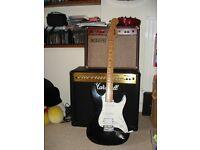 guitar fender strat copy black 2 single coil 1 humbucker plays well
