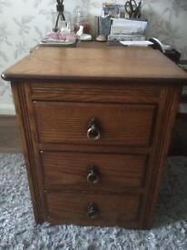 Oak three drawer chest