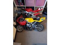 2 mini motos one rare blata style water cooled the other air cooled