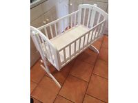 White crib- good for in between the Moses and cot stage