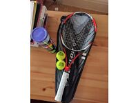 Dunlop Tennis Racket with Case and balls.