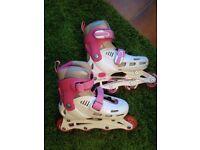 SFR Cyclone Adjustable Inline Girls Roller Skates, White/Pink size 12 - 2