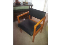 Wooden office/reception chair with arms