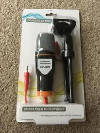 BNIB Condenser microphone 3.5mm jack with tripod. 2m cable