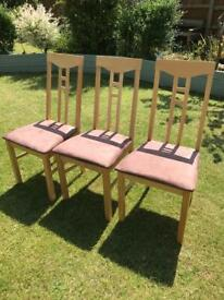 Three beech dining chairs with padded seats (can deliver)
