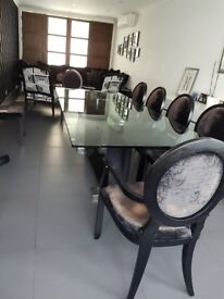Large glass dining table, Elegant, fit 10ppl comfortably