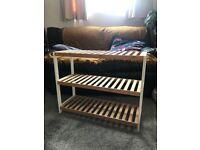 Wooden finish, 3 level shoe rack