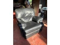 "Black Leather Reclining Arm Chair Super Comfy And Soft. Condition is ""Used""."