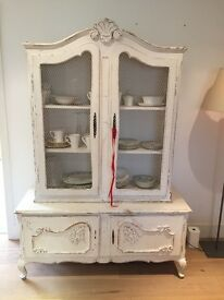 French Style, Shabby Chic, Armoire. White, chicken wire doors.