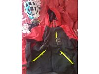 Cycling jacket , helmet and gloves