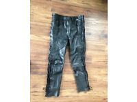 Ladies leather motorcycle jacket and jeans