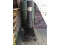 Garden Chiminea outdoor wood burner / patio heater- Black and silver metal - used once