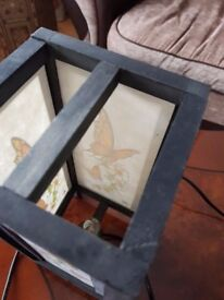 Butterfly pattern wooden lamp