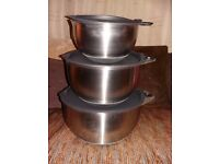 Pampered Chef Stainless Steel Mixing Bowls, set of 3, BNIB